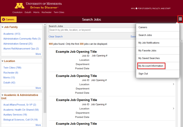 Screenshot of Search Jobs page showing My Account Information link under Actions menu button