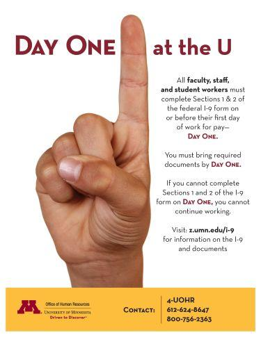 Day One flyer with pointing finger and instructions on I-9 materials to bring on first day of work