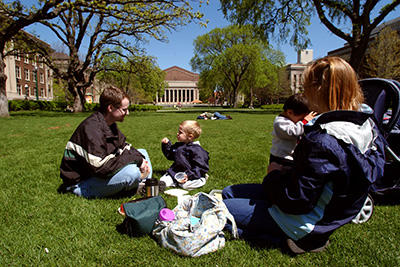 Family on the mall