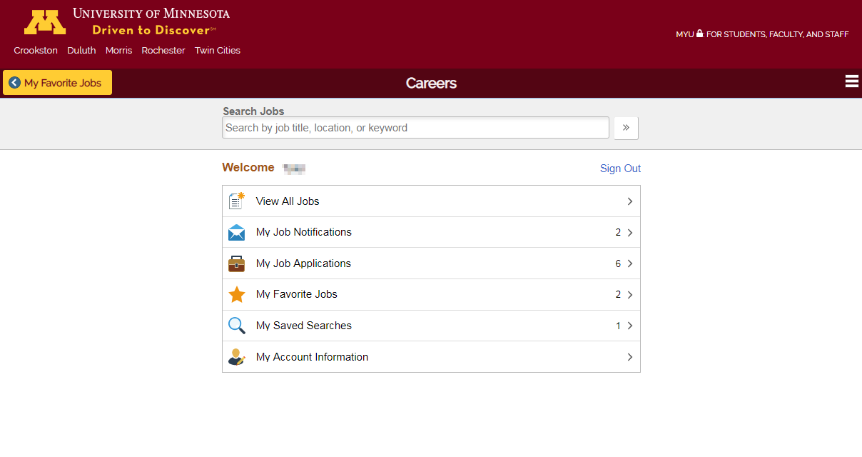 Screenshot of Careers page showing link to My Job Applications