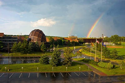 Photo of Duluth campus and rainbow