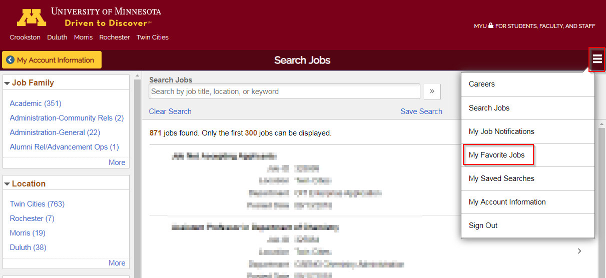 Screenshot of Search Jobs page showing My Favorite Jobs link under Action Menu button