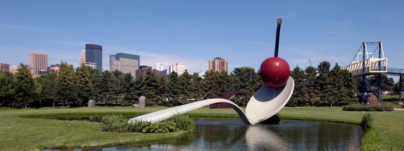 Spoon and cherry sculpture at the Walker Art Museum