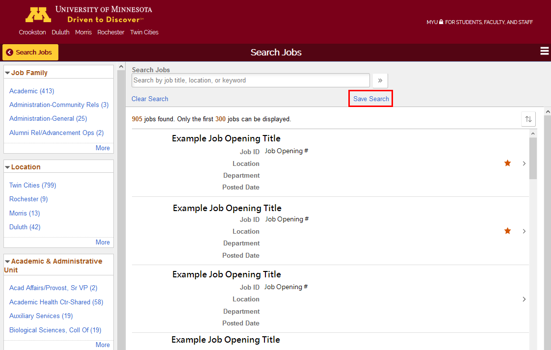Screenshot showing Save Search function