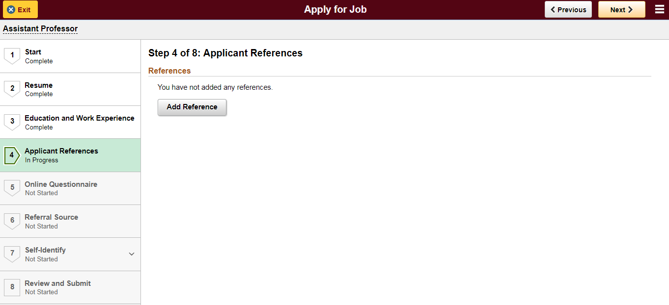 Screenshot showing Step 4--Applicant References page
